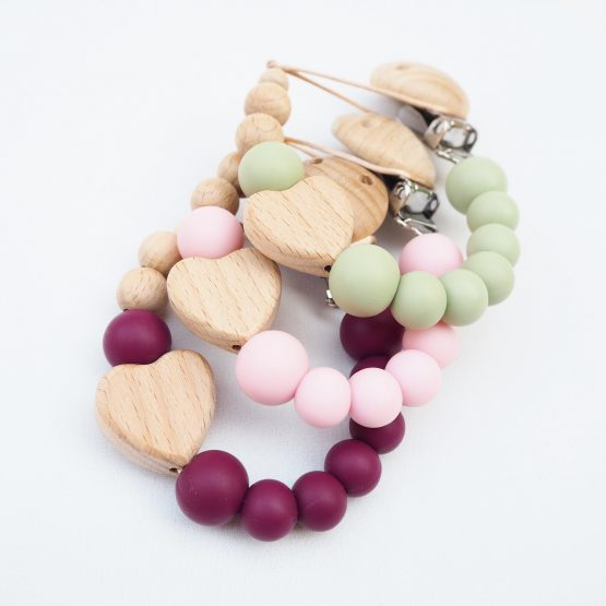 Sujeta-chupete Pacifierclip Chupeteros NydCollections Baby Natural Heart