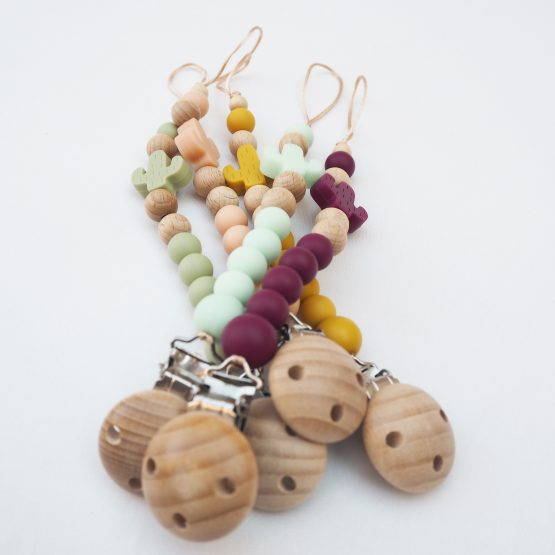 Sujeta-chupete Pacifierclip Chupeteros NydCollections Baby cactus